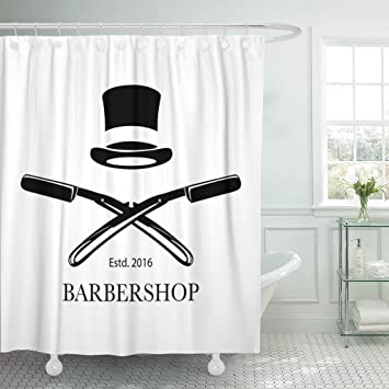 TOMPOP Shower Curtain Barbershop Hair Salon Barber Razor Blades And Top Waterproof Polyester Fabric 72 X