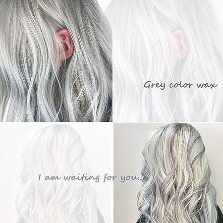 Tinte Para El Cabello, Cera Pelo De Bricolaje,Crema De Peinado Desechable,Use Cera Pelo Temporal Peinados úNicos(gris)
