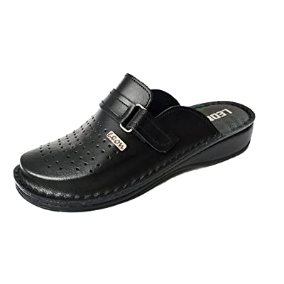 LEON V230 Leather Slip-on Mens Mule Clogs Slippers Shoes | Mules & Clogs