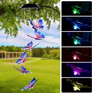 Arcpic Color Changing Solar Butterfly Wind Chime - LED Decorative Mobile, Waterproof Outdoor/Indoor Solar String Lights for Patio, Balcony, Party, Garden, Great Gift for Mom, Grandma, Birthday