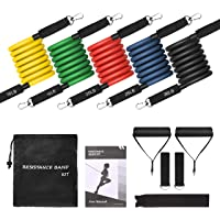 Resistance Bands,TOPELEK 12 Pieces Resistance Bands Set,5 Fitness Tubes,with Door Anchor,Ankle Straps,Workout Guide,Carrying Pouch for Building Muscle,Rehabilitative Exercises,for Indoor & Outdoor Use