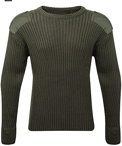 MILITARY JUMPER MENS OLIVE SWEATSHIRT heavy duty knitted pullover Army Soldier