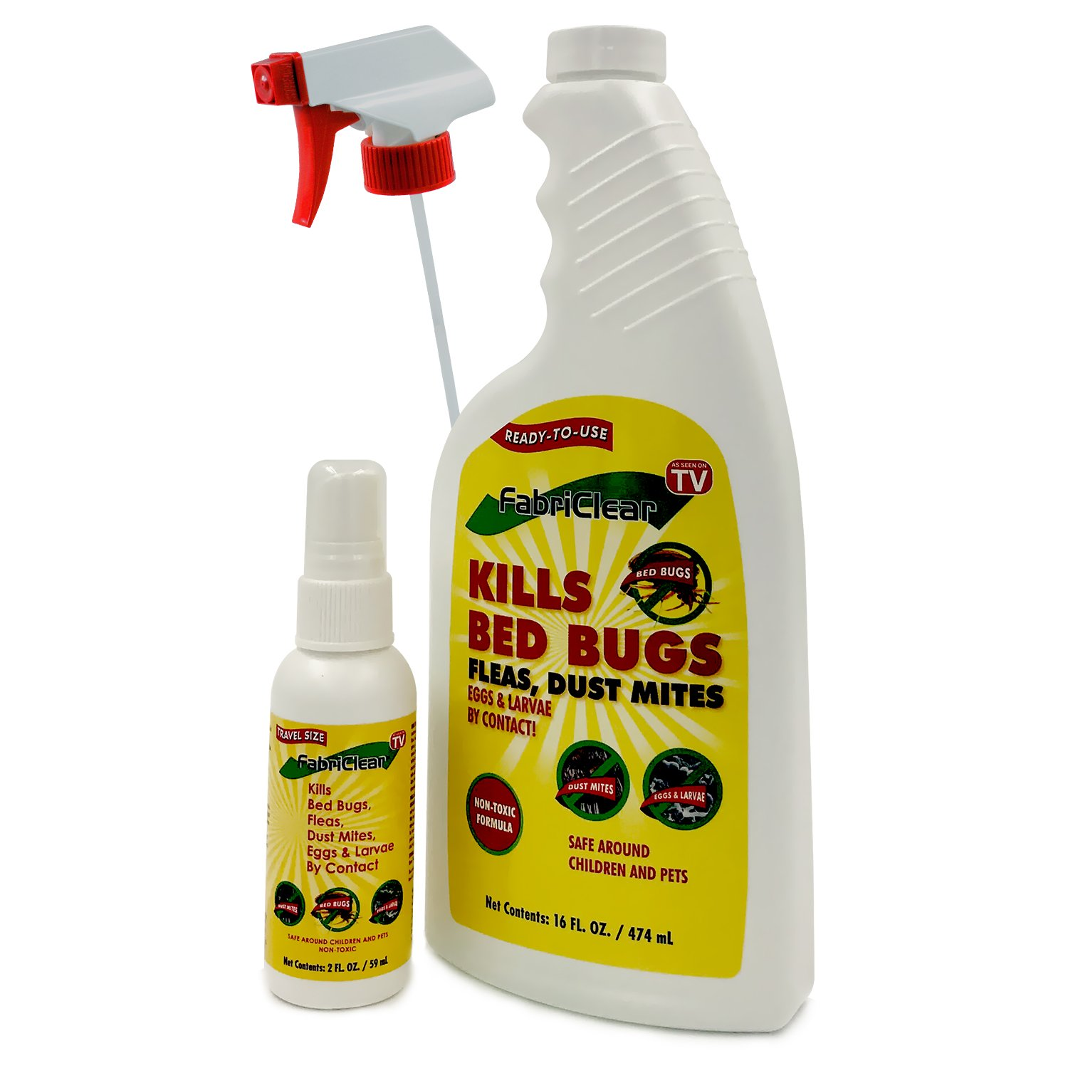 FabriClear Bed Bug, Dust Mite and Flea Killer Spray - NON-TOXIC - 16oz plus 2oz Travel Size