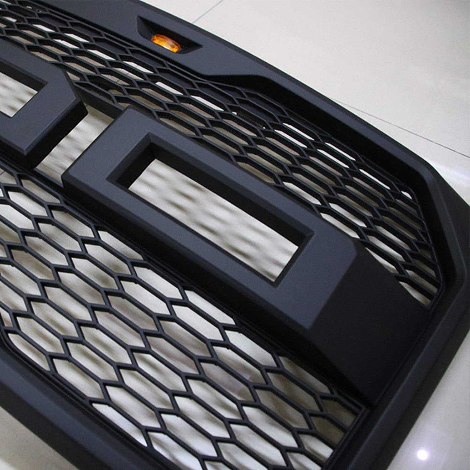 Black Front Grille Fits 2009-2014 FORD F150 Raptor Style Grill Kits With Amber LED Light and F/&R Letter