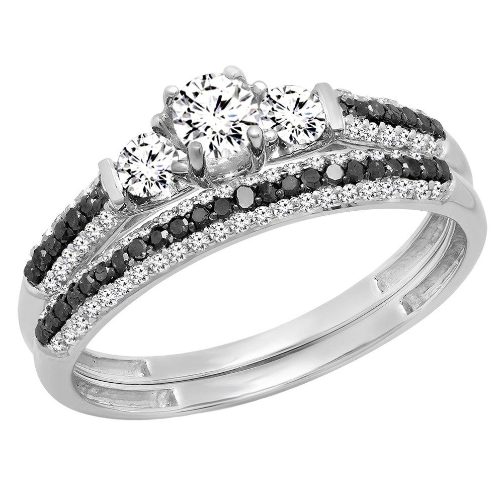 10K White Gold White Sapphire, Black & White Diamond 3 Stone Bridal Engagement Ring Set (Size 7)