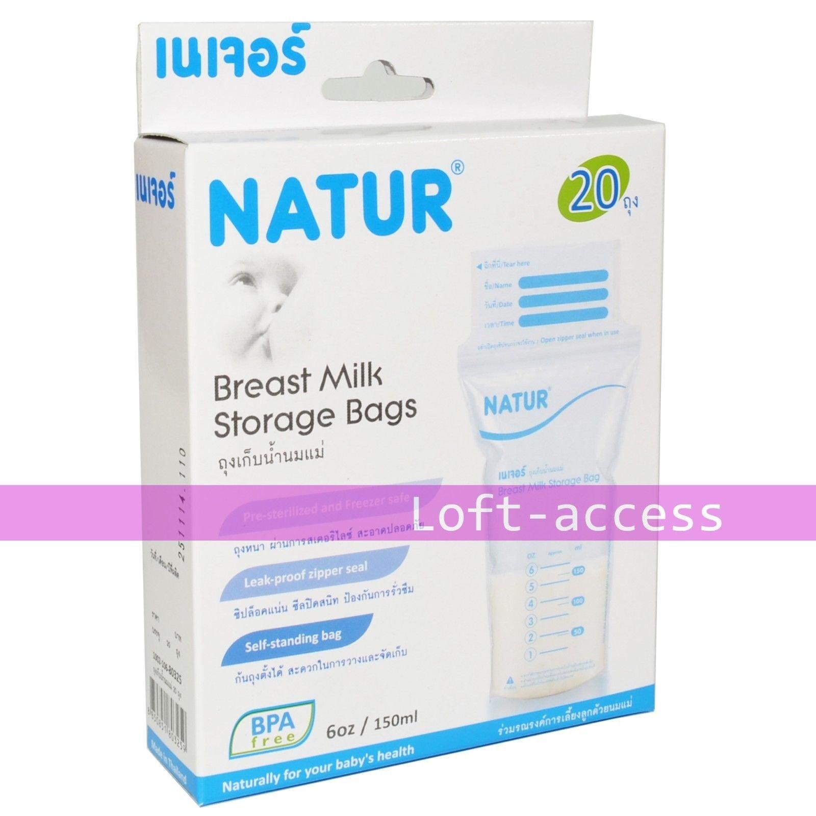 New Natur Breast Milk Storage 20 Bags 1 Pack Plastic BPA Free Sterilized