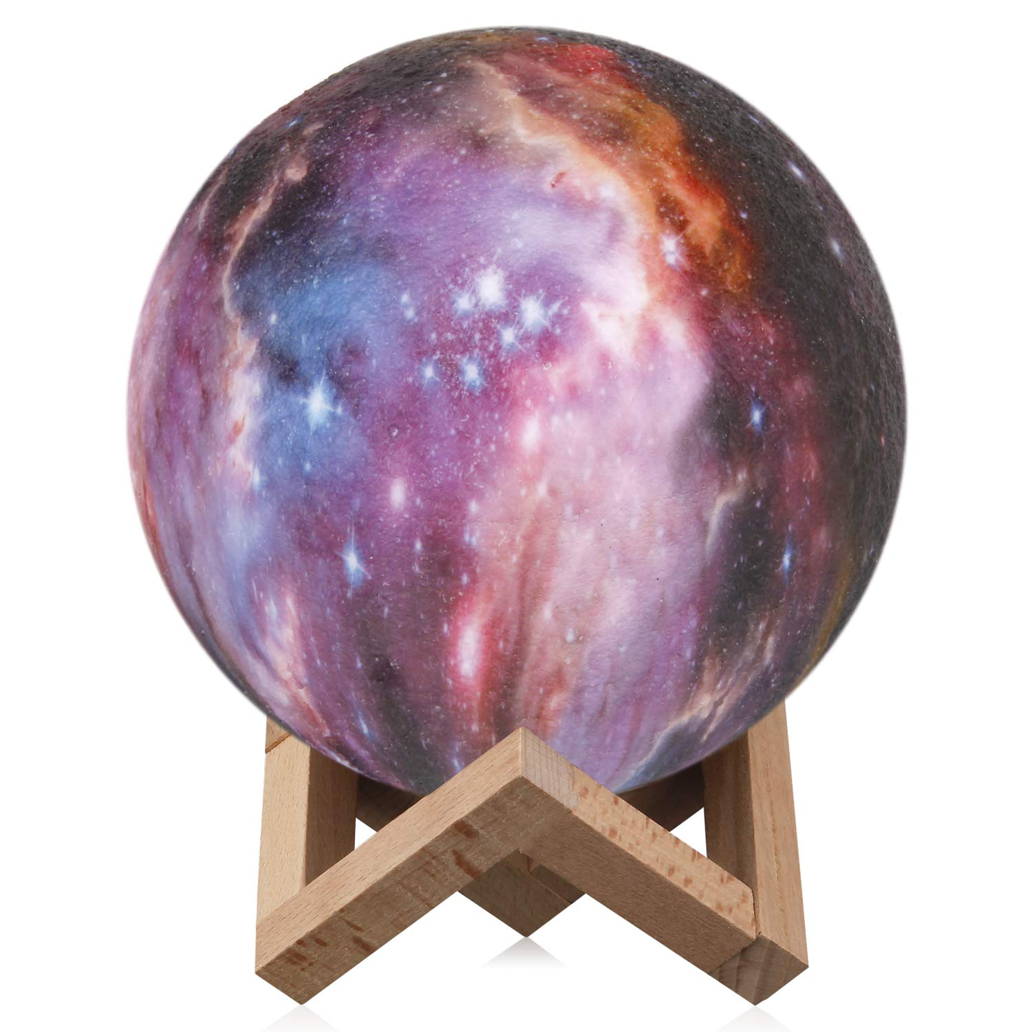 Space Night Light,Elstey 3 Colors 3D Printing Spherical Moon Lamp with Stand,5.9 inch Glowing Decor Moon Light for Baby Kids Lover Birthday Party Gifts