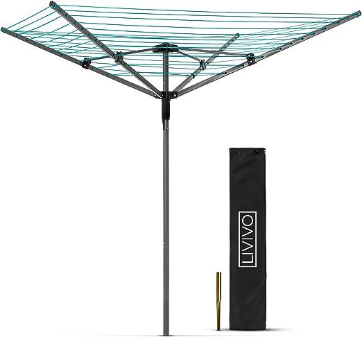 Tendedero de ropa percha multiusos portátil seco interior y exterior con pie plegable: Amazon.es: Jardín