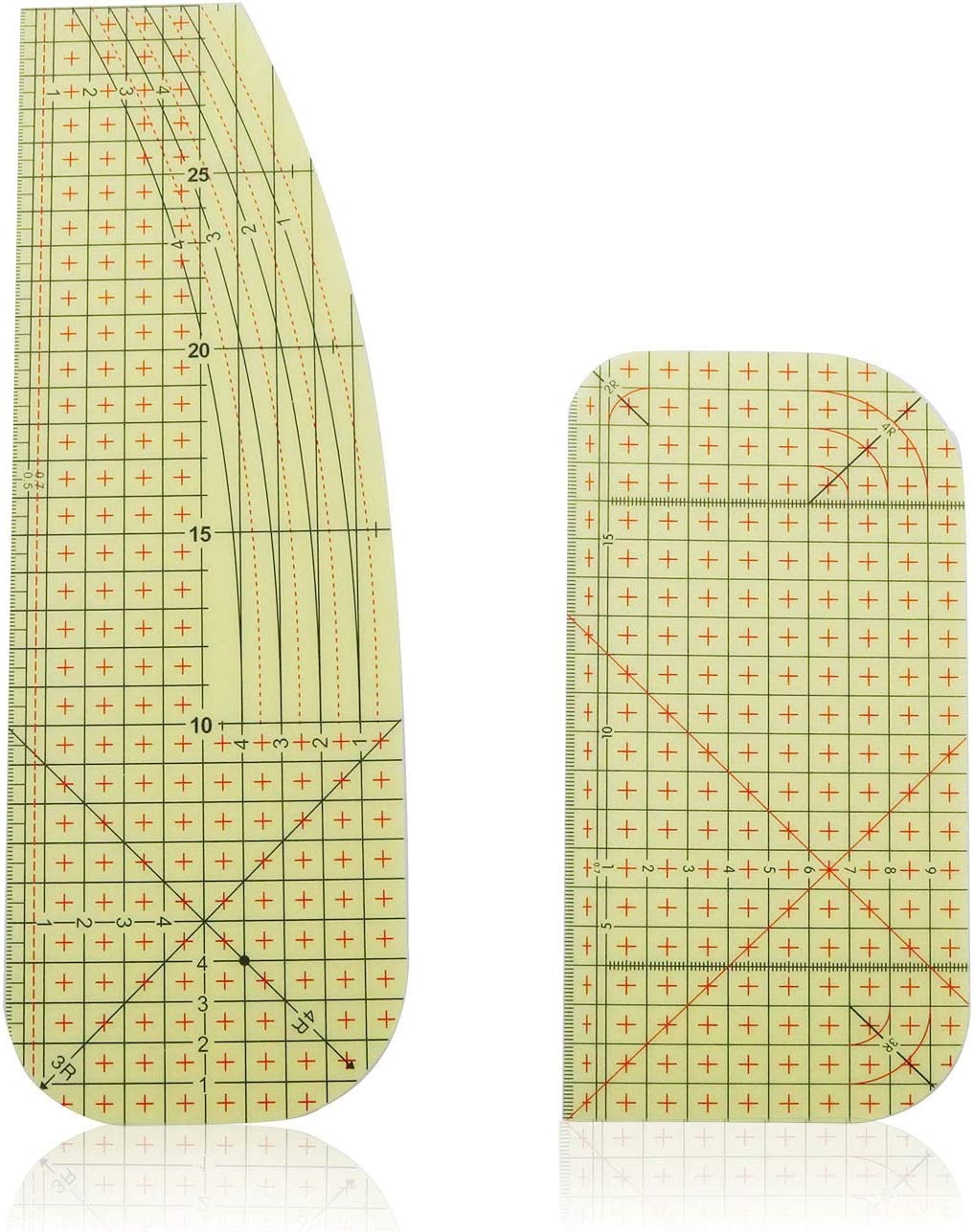 NX Garden 2pcs Sewing Hot Ironing Ruler Set, High Temperature Resistant Patchwork Control Ruler with Soft Measure Tape and U-Shape Scissors For Clothing Making DIY Sewing Supplies Handmade