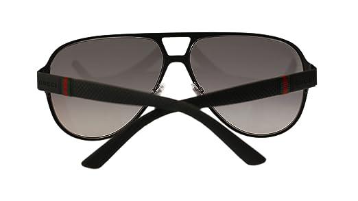9b6b47912a4 Gucci Men s Sunglasses GG2252 M7A Black Matte Grey Lens Aviator 62mm  Authentic  Amazon.ca  Clothing   Accessories