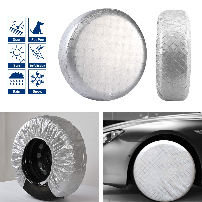VIEFIN Set of 4 Wheel Tire Covers, Waterproof UV Sun Aluminum Film Tire Protectors for RV, Trailer, fit 30'' to 32'' Tire Diameter of Truck, Jeep, Camper, Van, Auto Car