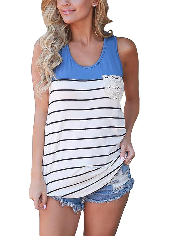 Chvity Women Summer Vest Top Sleeveless Blouse Casual Tank Top T-Shirt (L, Blue)