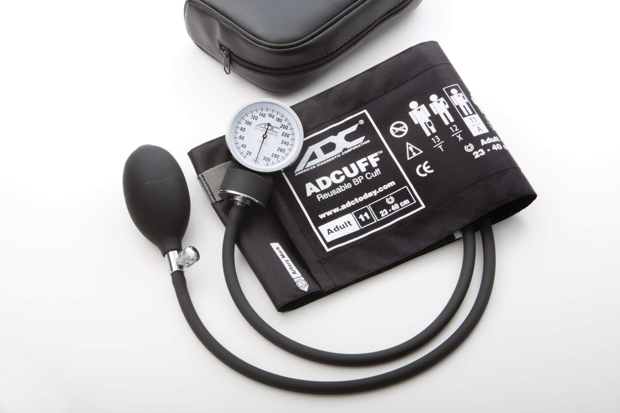 ADC 760-11ABK Prosphyg 760 Pocket Aneroid Sphygmomanometer with Adcuff Nylon Blood Pressure Cuff,