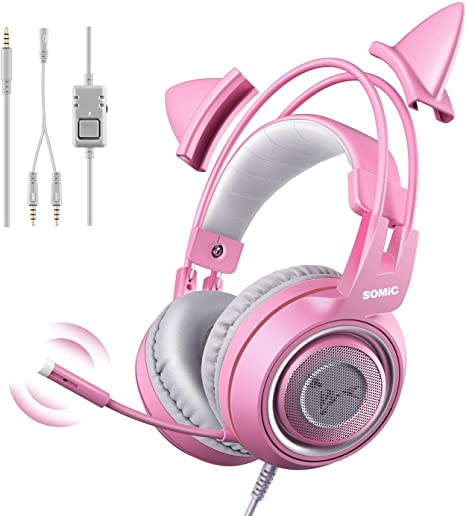 SOMIC G951S Auriculares rosa para juegos con micrófono, Auricular rosa oreja de gato con 3.5mm con cable para Xbox One, Nintendo Switch, PS4, iPhone, iPad: Amazon.es: Videojuegos