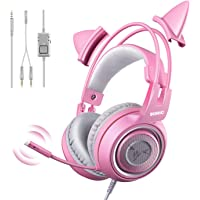 SOMIC G951s Pink Stereo Gaming Headset with Mic for PS4, Xbox One, PC, Mobile Phone, 3.5MM Sound Detachable Cat Ear…