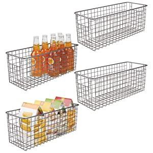 """mDesign Farmhouse Decor Metal Wire Food Storage Organizer Bin Basket with Handles for Kitchen Cabinets, Pantry, Bathroom, Laundry Room, Closets, Garage - 16"""" x 6"""" x 6"""" - 4 Pack - Graphite Gray"""