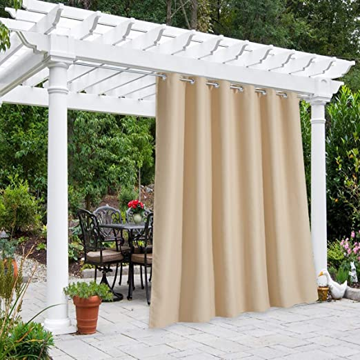 Pro Space 50x84inch Outdoor Curtains for Patio/&Pergola,Thermal Insulated Grommet Top Blackout Sheer Porch Blackout UV Ray Protected Waterproof Curtain//Drape Beige,2 Panels