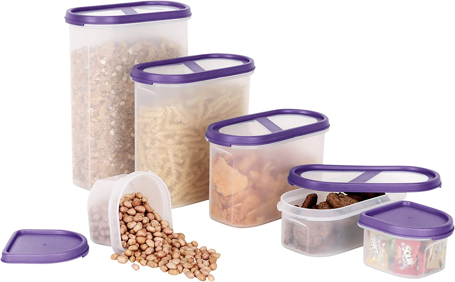 SIMPARTE 6 Container Set Pantry Airtight Cereal and Dry Snacks Food Storage Containers   Microwave & Dishwasher Safe   BPA Free   Freezer Safe   Space Saver Modular Design (Purple Lids)