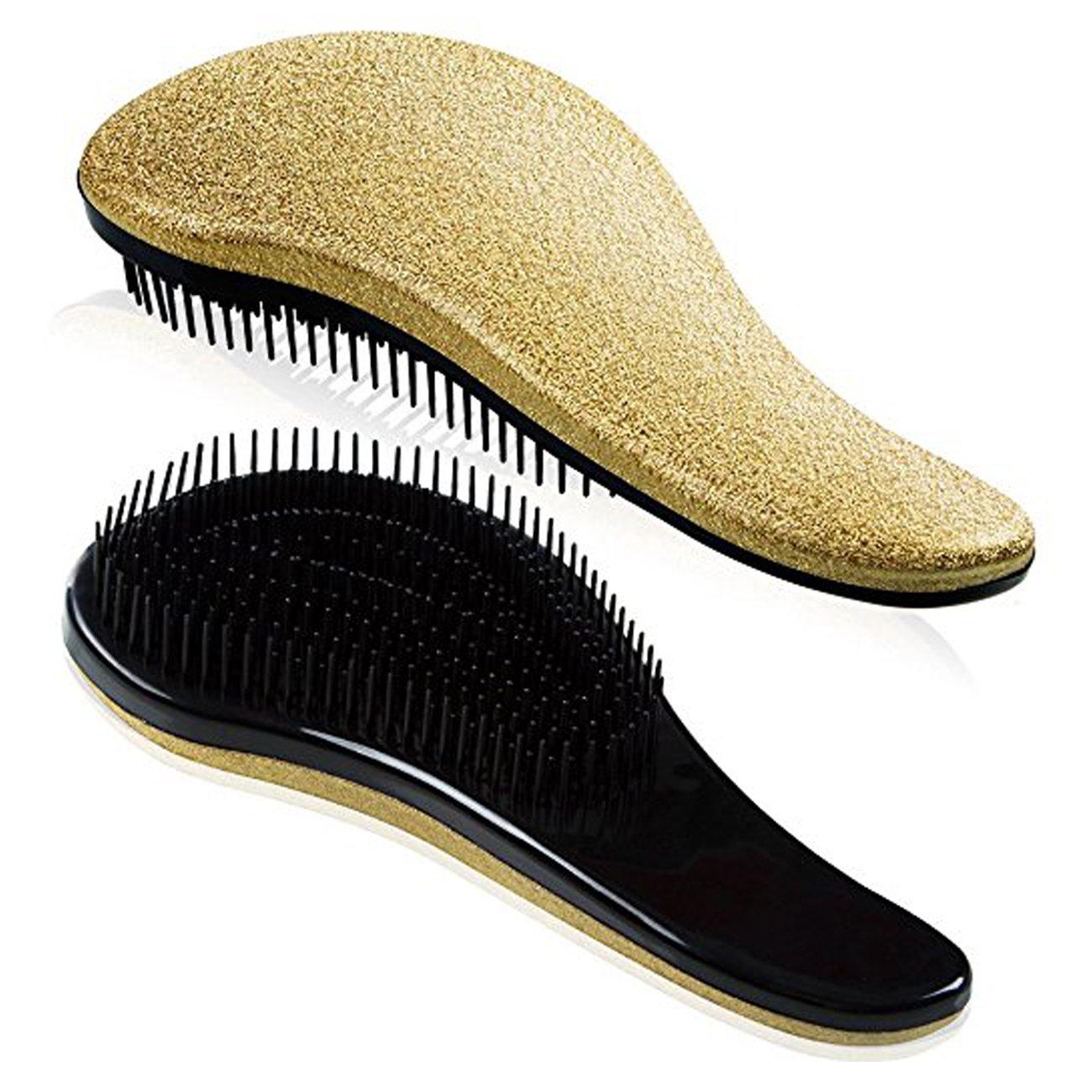 Detangling Hairbrush Comb- Glide Through All Types of Natural & Tangled Hair - Dry & Wet Hair Brush- Gold Sparkle Hair Detangler Brush - For Kids, Women, Men (Gold) by Outopest (Image #2)