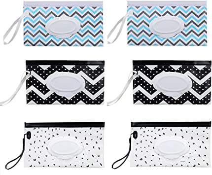 Liseng 3 Pcs Portable Wet Wipe Pouches Dispenser Eco Friendly Reusable Baby Travel Diaper Wipe Carrying Case Holder
