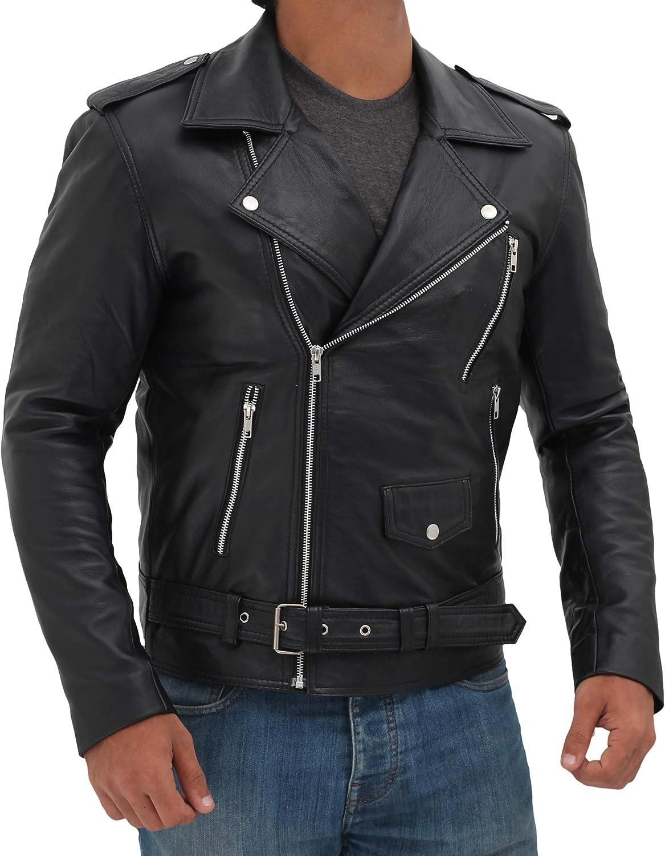 Motorcycle Mens Leather Jacket Real Lambskin Biker Leather Jacket for Men