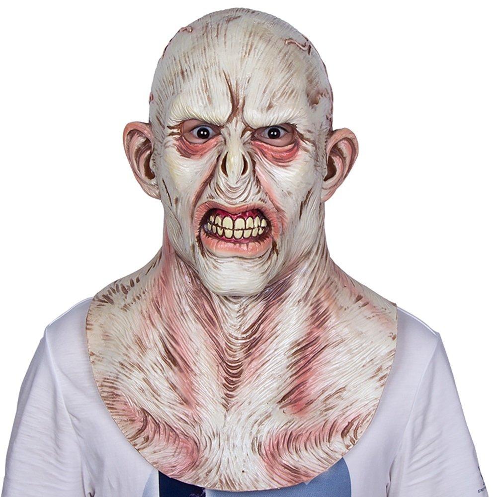 HBWJSH Terror Scare Latex Haube Dämon Grimasse Erwachsene Halloween Zimmer entkommen Spukhaus Requisiten (Farbe : Weiß)