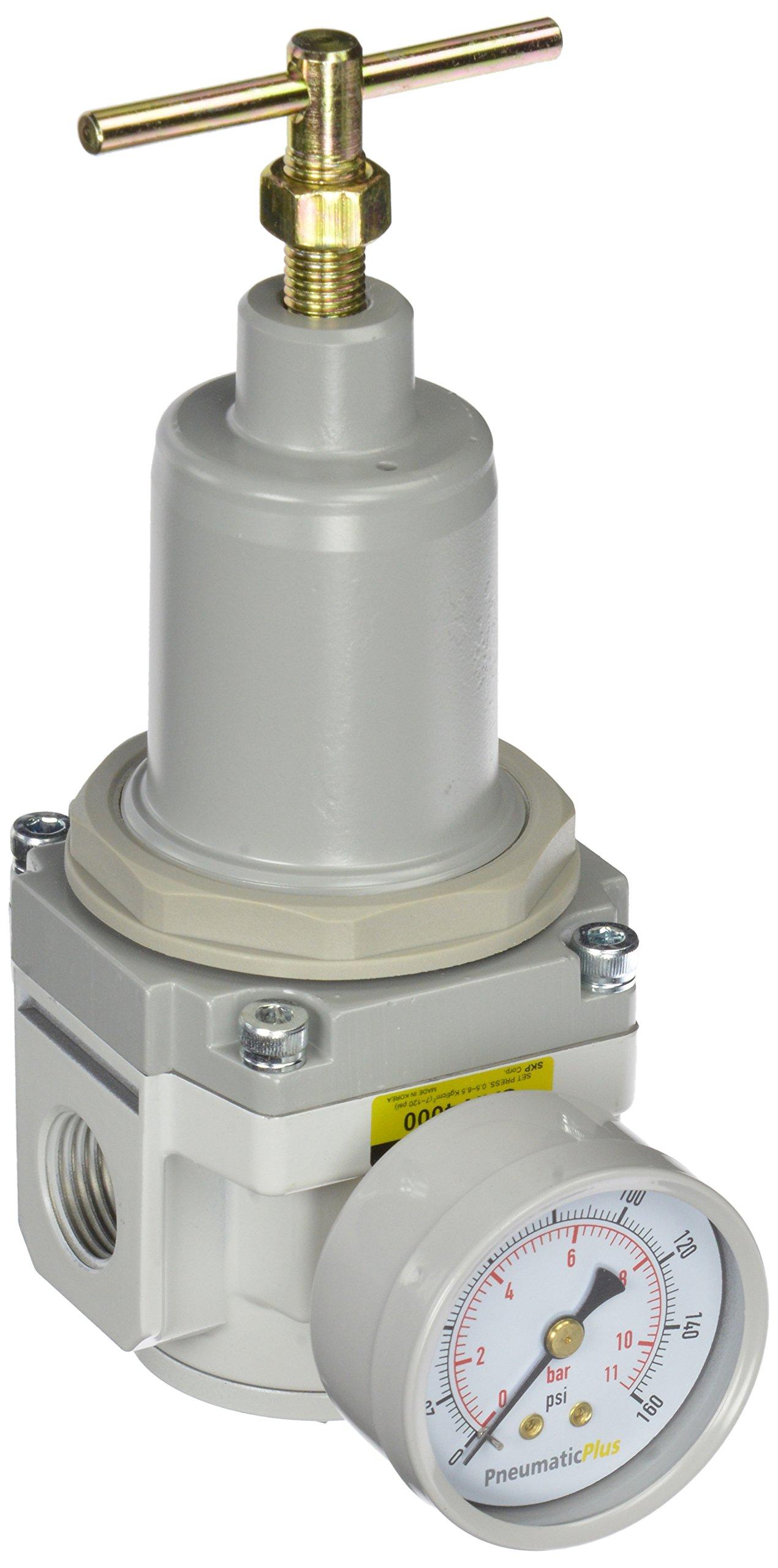 PneumaticPlus SAR4000T-N04BG Air Pressure Regulator T-Handle 1/2'' NPT with Gauge & Bracket