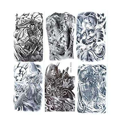 0e7bc192c VanTattoo (6Sheets) Fashion Body Art Stickers Removable Waterproof  Temporary Tattoo –Full back tattoo