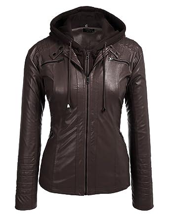 9e9f078ac070 Involand Womens Plus Size Faux Leather Moto Biker Zip Up Hoodie Jacket
