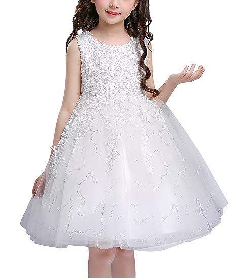 3f0cb18d791 Doveark Robe de Mariage Fillette Robe en Dentelle sans Manche Robe Fleur  Fille Multi-tulles. Passez la souris sur ...