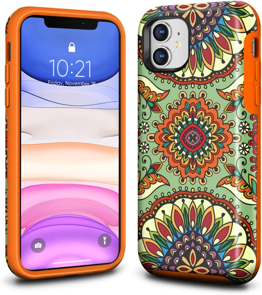 Ballaber for iPhone 11 Case Shockproof Slim for Girls Hard Silicone Rubber Bumper Full Body Protective Soft Cover Anti-Scratch for Apple iPhone 11 6.1 inch (National Art)