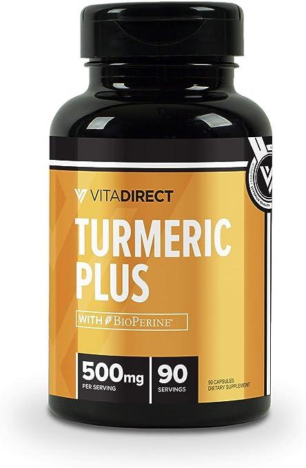 VitaDirect Premium Turmeric Curcumin Plus Supplement (with 20mg BioPerine, Black Pepper Extract) 500mg, 90 Vegetarian Capsules, 95% Curcuminoids Supplement