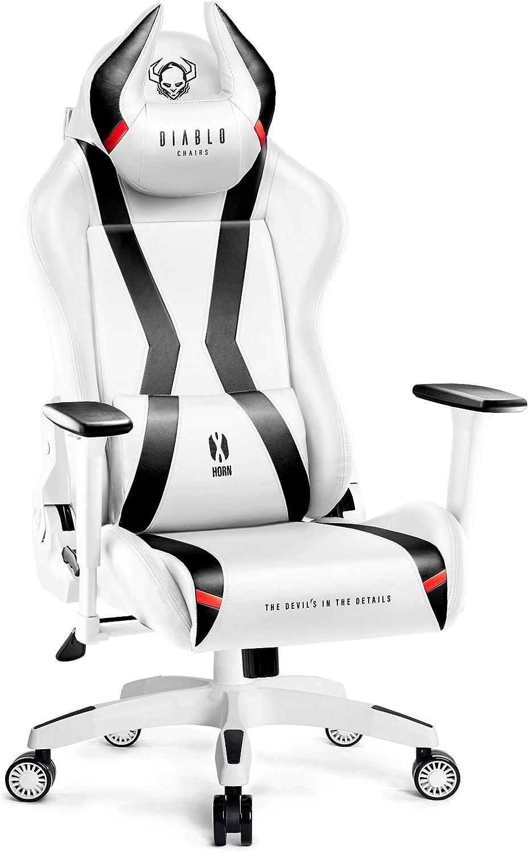 Diablo X-Horn - Silla Gaming, Apoyabrazos 3D Cojín Ajustable, Diseño Ergonómico, Cuero Sintético