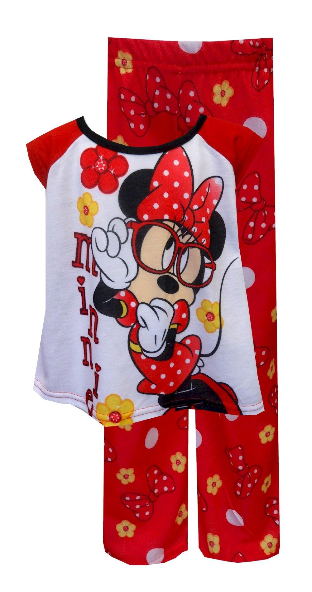 AME Sleepwear Girls' Disney Minnie Mouse Looks Good in Glasses Red Pajamas (8)