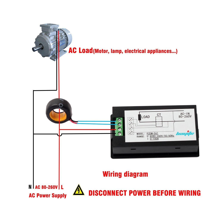 Bayite Ac 80 260v 100a Pzem 061 Lcd Display Digital Current Basic Transformer Wiring Diagram Voltage Power Energy Multimeter Ammeter Voltmeter With Ct