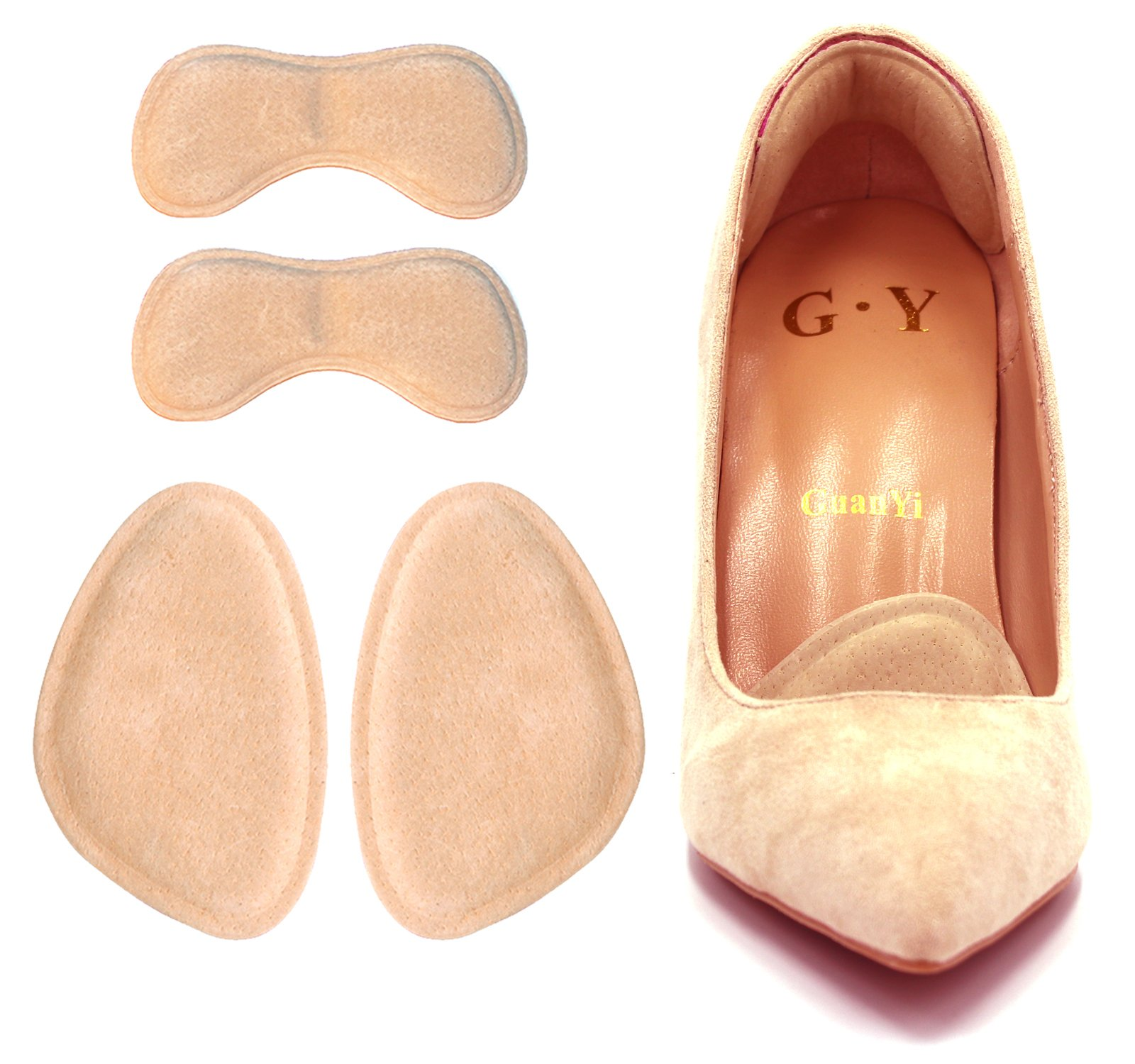 Forefoot Pads,High Heel Cushion Women, Heel Grips, Anti Slip Shoe Cushion, Ball of Foot Insoles, High Heel Liner, Blister Prevention Improve Shoes Too Big,2 Pairs-Khaki