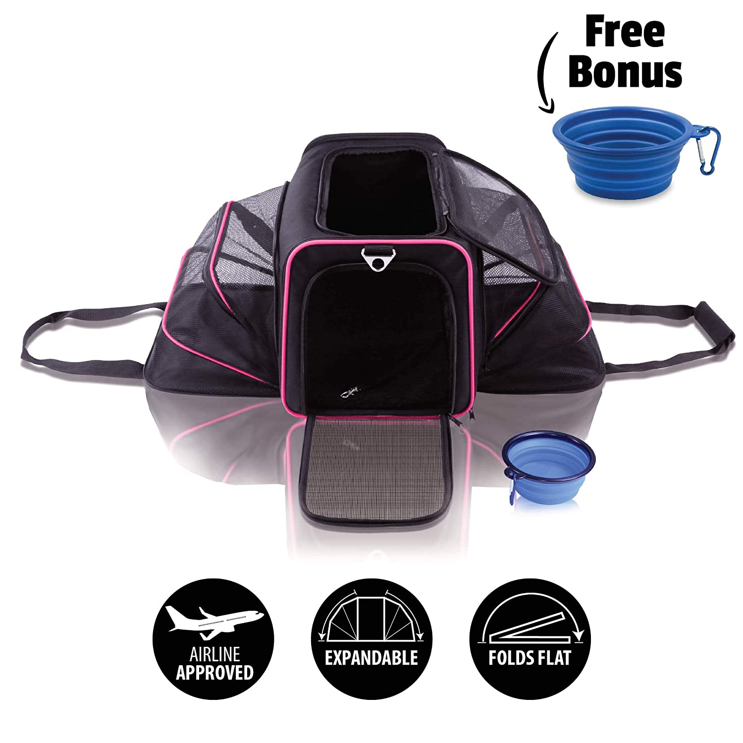 Black with Pink Lining Ruff n Ruffus Dual Expandable Soft Pet Carrier + FREE BOWL   Airline Approved   Safe for use as pet Car Seat   For Dogs Cats and Small Pets   Two Sided Expandable Kennel Crate   Spacious Soft Interior