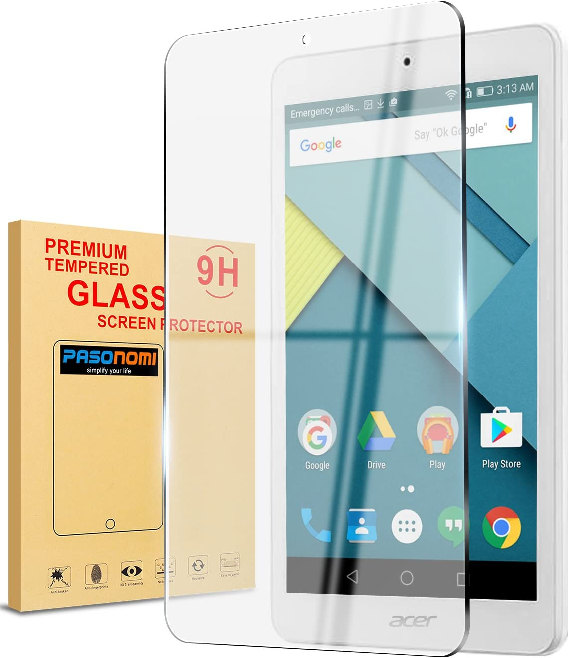 Acer Iconia One 7 B1-790 Screen Protector,Pasonomi [9H Hardness] [Crystal Clear] [Scratch-Resistant] Premium Tempered Glass Screen Protector Film for Acer Iconia One 7 B1-790