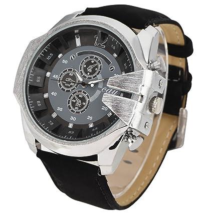 Reloj redondo de la venda de la PU del reloj de cuarzo del análogo de los