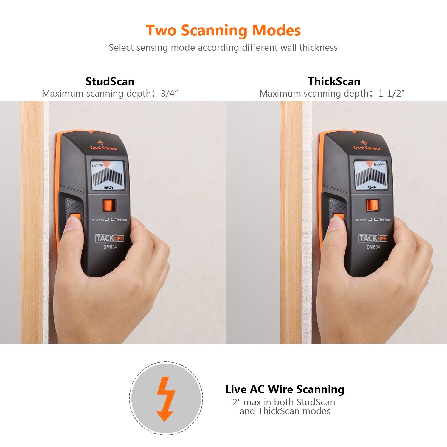 Stud Finder, DMS04 Stud Sensor, Edge Finding Electronic Wall Scanner, Multi-Functional wall Detector, Metal/Live AC Wire/Wood Stud Scanner with LED/Sound ...