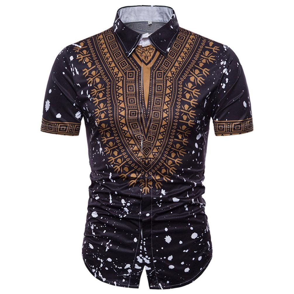 UPLOTER Men's Short Sleeve African Dashiki Graphic Hipster Hip Hop Curved Hem T-Shirt (Black, L)