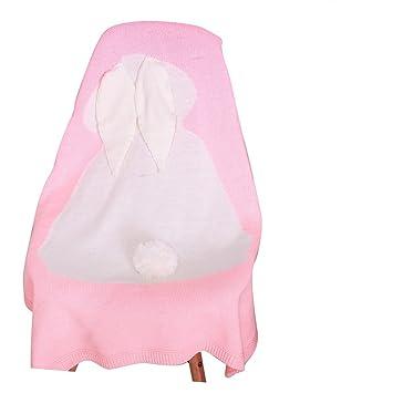 Bebé de lana para tejer Conejo manta hecho a mano sofá de ganchillo playa colcha alfombra rosa: Amazon.es: Bebé