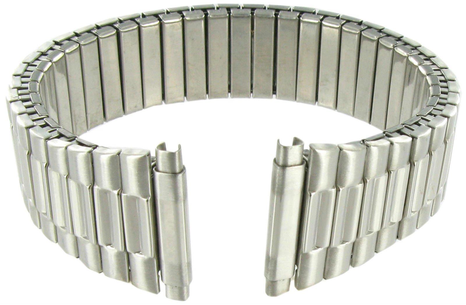 17-21mm Kreisler Twist-O-Flex Silver Tone Stainless Expansion Watch Band Long