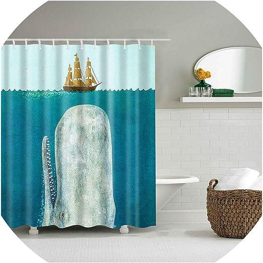 Waterproof Bathroom Shower Curtain Blue/&White Striped Smart 180x180cm
