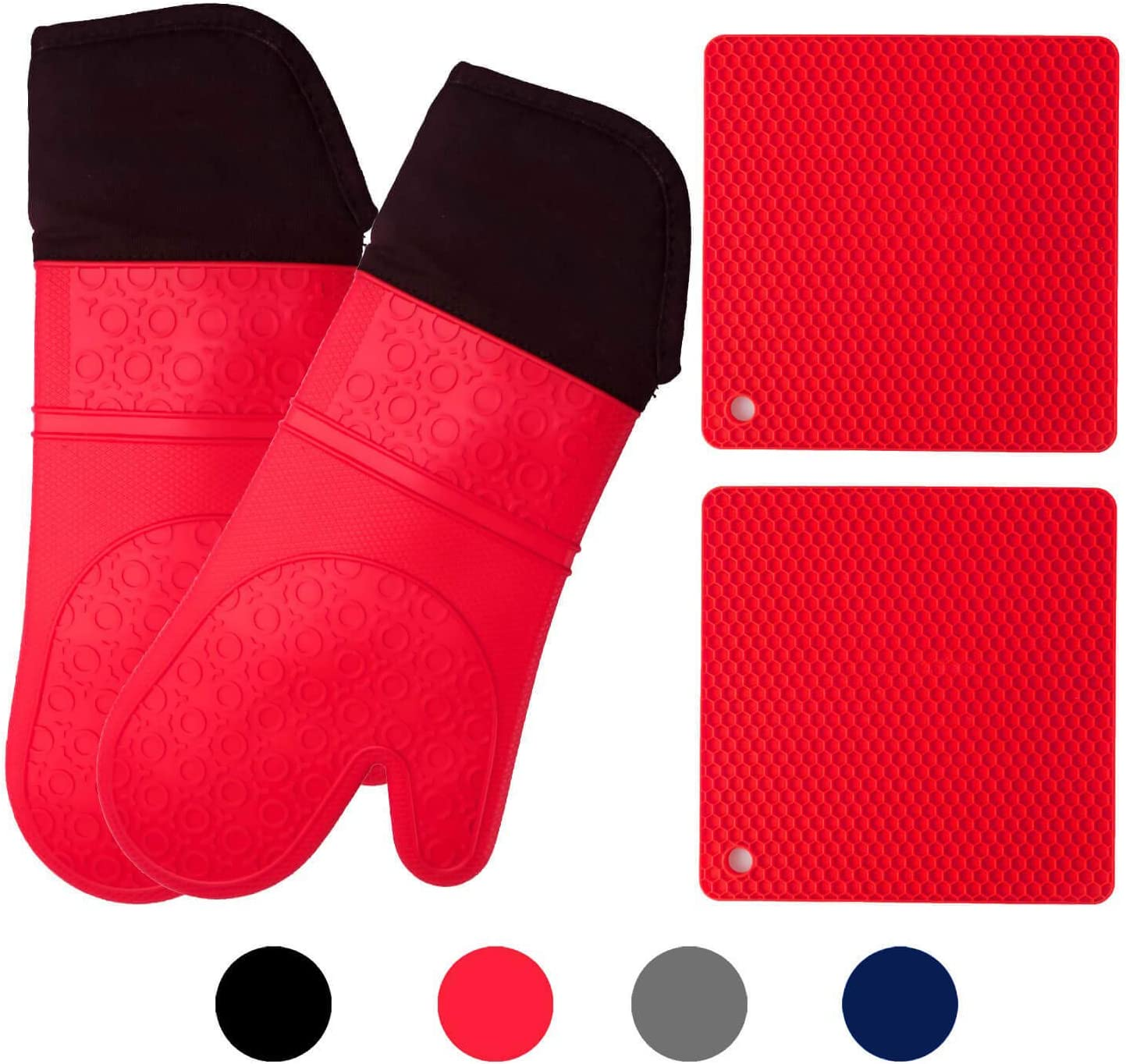 HOMWE Silicone Oven Mitts and Potholders (4-Piece Sets) Heavy Duty Cooking Gloves, Kitchen Counter Safe Trivet Mats   Advanced Heat Resistant, Non-Slip Textured Grip Pot Holders(Red)