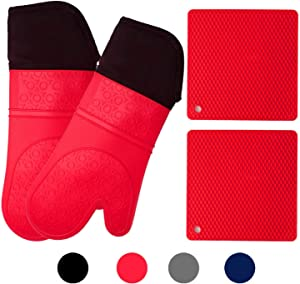HOMWE Silicone Oven Mitts and Potholders (4-Piece Sets) Heavy Duty Cooking Gloves, Kitchen Counter Safe Trivet Mats | Advanced Heat Resistant, Non-Slip Textured Grip Pot Holders(Red)