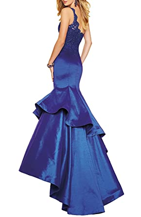 Liaoye Beilite Womens One Shoulder Lace Prom Dresses Mermaid Satin Formal Evening Dress - Gold - 14: Amazon.co.uk: Clothing