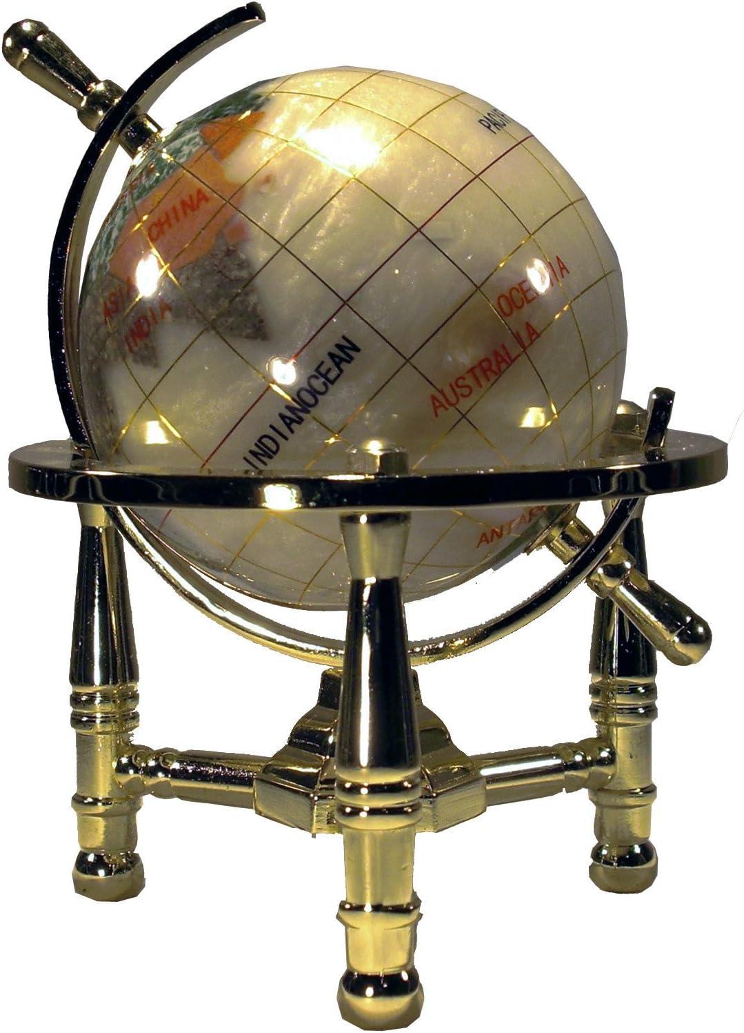 Unique Art 6-Inch Tall Pearl Swirl Ocean Mini Table Top Gemstone World Globe with Gold Tripod