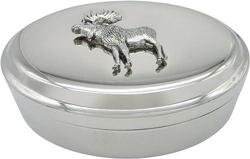 Full Moose Pendant Oval Trinket Jewelry Box