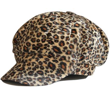 61c7f5b13 Amazon.com: Fashion Flannel Leopard Animal Print Newsboy Hat Cap ...